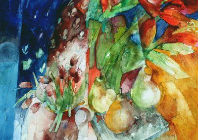 Flowers & Fruit against a Blue Curtain